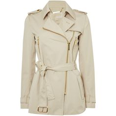 Michael Kors Zip Detail Trench Jacket ($330) ❤ liked on Polyvore featuring outerwear, jackets, sand, women, cotton trench coat, water resistant trench coat, michael kors, brown trench coat and trench jacket