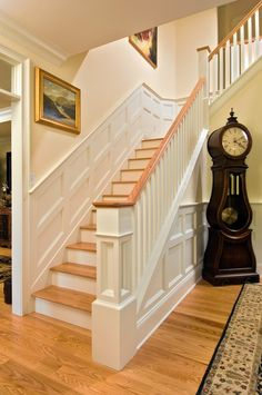 30+ Best Chair Rail Ideas, Pictures, Decor And Remodel. Traditional  StaircaseTraditional HomesTraditional DesignGrandfather ClocksStairwayWainscoting  ...