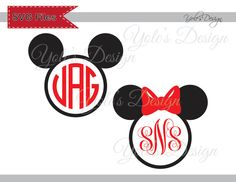 Mickey Minnie Mouse Ears Disney Inspired Instant Download (Monogram Font NOT Included) Cutting File in Svg Eps Dxf and Jpeg Format