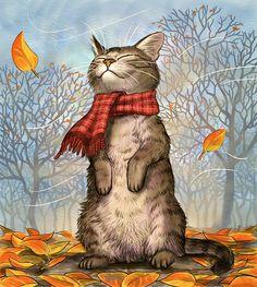 Chat dans le vent d'automne