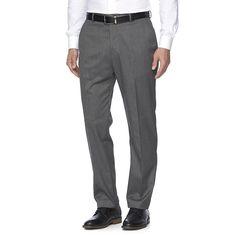 Men's Croft & Barrow® True Comfort Stretch Classic-Fit Flat-Front Suit Pants, Size: 32X30, Grey