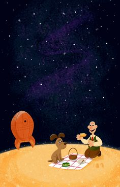 """Here's my latest piece for silverscreensociety.com. """"A Grand Day Out"""" is my favorite Wallace and Gromit film, and any time I get to illustrate outer space, I am one happy lady nerd."""