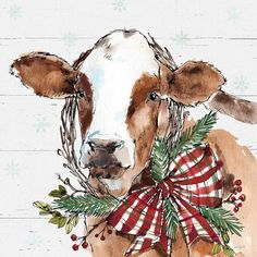 """Trademark Fine Art Anne Tavoletti """"Holiday On The Farm Viii On Gray"""" Canvas Art at Lowe's. This ready to hang, gallery-wrapped art piece features a brown cow wearing a Christmas wreath. For Anne Tavoletti, drawing and painting have always been Grey Canvas Art, Cow Canvas, Canvas Art Prints, Painting Prints, Watercolor Paintings, Canvas Artwork, Art Paintings, Cow Paintings On Canvas, Framed Prints"""