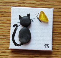 Miniature Pebble Art Magnet CAT WITH BUTTERFLY