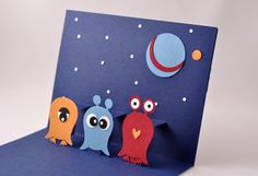 Pop up card - Aliens made with owl 'stampin up' punch