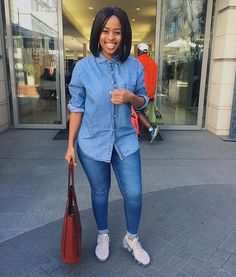 🙆🏾 Missing no meals though! Thick Girls Outfits, Girl Outfits, Fashion Outfits, Womens Fashion, Work Casual, Casual Wear, Casual Outfits, Instagram Queen, Double Denim