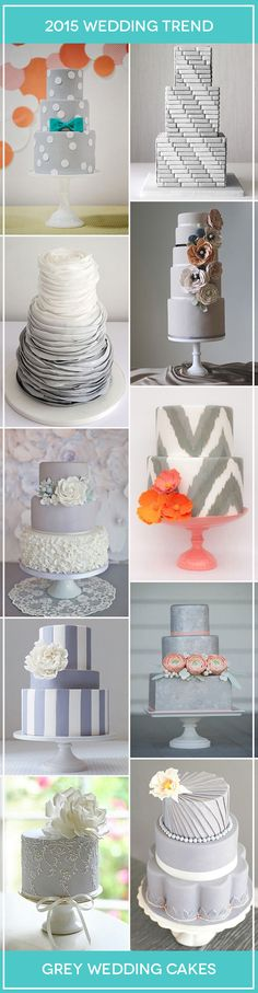 A Hot new look for wedings in 2015, we've put together our favourite Grey Wedding Cake Ideas | www.onefabday.com
