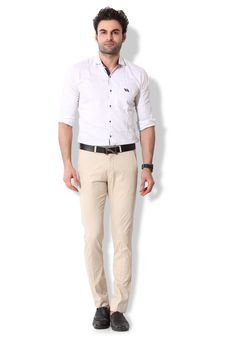 Give yourself an ultra-modern casual look with these beige coloured chino pants from KOZZAK. Mens Chino Pants, Casual Looks, Button Down Shirt, Men Casual, Beige, Amazon, Modern, Mens Tops, Shirts
