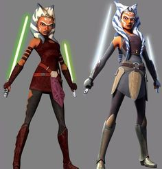 Ahsoka Tano in her teens during Star Wars The Clone Wars and her as an adult during Star Wars Rebels.