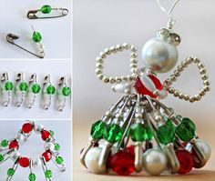 Beaded Wire and Safety Pin Angel Tutorial