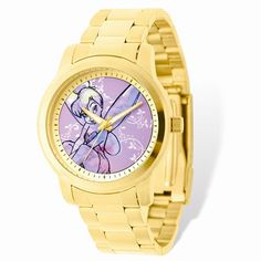 Tell time on the go with this gold alloy watch. It comes with a quartz movement and analog time display display. This high-end casual Disney Fairies timepiece boasts an analog time display. Disney Sleeping Beauty, Disney Jewelry, Disney Style, Disney Disney, Disney Princess, Photo Jewelry, Stainless Steel Bracelet, Link Bracelets, Tinkerbell
