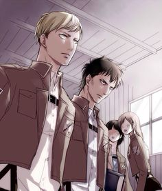 Erwin Smith<<<<<<< IS THAT A TEENAGE LEVI NEXT TO HIM?!?! IM DONE< no because levi isn't that tall << Guys that's Nile xD His hair is too messy and he is too tall to be Levi!