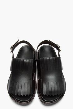 MARNI Black Leather Fringed Fussbett Sandals