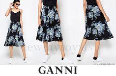 Princess Marie of Denmark wears Ganni Blue Flower Print Midi Skirt www.newmyroyals.com