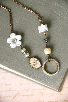 Mon Cherishabby chic french floral charm by tiedupmemories on Etsy, $36.00
