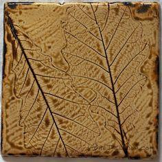 Salt Buff Oak Leaf Imprint ceramic tile by The Delicion