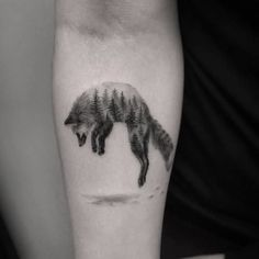Double+Exposure+Fox+Tattoo+by+maxim.nyc