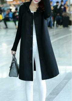 Notch Collar Snap Button Long Sleeve Beige Coat | Winter fashion ...