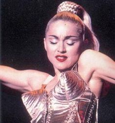 Madonna in Jean Paul Gaultier outfit during her Blond Ambition Tour, Jean Paul Gaultier, Dita Von Teese, Cindy Crawford, Jennifer Lopez, Glam Rock, Access Fashion, La Madone, Bullet Bra, Corsets