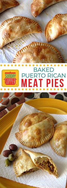Baked Puerto Rican Meat Pies are a version of the fried savory hand pie served all over the Caribbean island, mostly as a snack. #SundaySupper