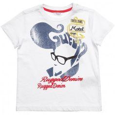 Boys White Cotton Jersey T-Shirt #guess inc #boys fashion