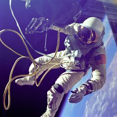 Ed White taking the first American spacewalk. June 3, 1965.