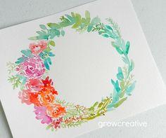 Original Watercolor Floral Wreath  by Elise Engh: growcreative