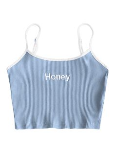 Ribbed Cropped Honey Embroidered Tank Top - LIGHT BLUE XS