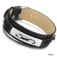 Aegean Jewelry Genuine Leather Bracelet Mens Stainless Steel ID Tag Cuff Leather Bracelets