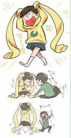 Jyushimatsu being sailor moon is cute Kawaii Anime, Vocaloid, Osomatsu San Doujinshi, Gekkan Shoujo Nozaki Kun, Ichimatsu, Sailor Moon, Chibi, Anime Art, Pokemon