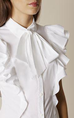 Karen Millen, THE SUPER FRILL SHIRT White