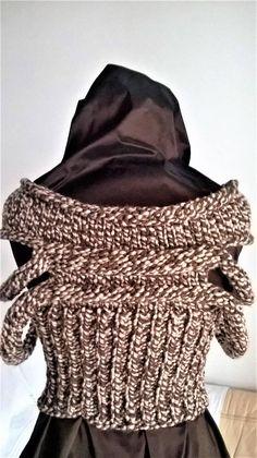 Hand knit brown crop top sweater jumper avangarde unique