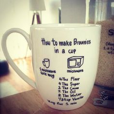 love this homemade idea, personalize a mug with your recipe to share :) and who doesn't like a brownie in a mug?!
