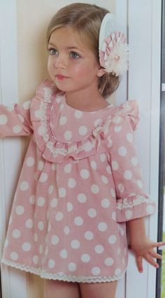 Vestido niña rosa con lunares blancos Sewing, Kids Fashion, Pink, Polka Dots, Dresses For Girls, Needlework, Sew, Stitching, Costura