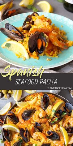 One of the most famous Mediterranean dishes, this Spanish seafood paella will blow your mind. A crusty saffron flavored rice and vegetable layer topped with shrimp, mussels, and squid - how does that sound? Fancy but totally doable for anyone at home! Spanish Paella Recipe, Spanish Seafood Paella, Seafood Dinner, Easy Seafood Paella Recipe, Best Paella Recipe, Shrimp Recipes, Fish Recipes, Mexican Food Recipes, Spanish Food Recipes