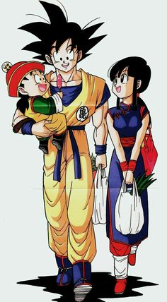 Goku, Chi-Chi and Gohan (Dragon Ball Z) (c) Toei Animation, Funimation & Sony Pictures Television Gochi Ship Family Dragon Ball Gt, Sailor Moon, Goku And Gohan, Manga Dragon, D Mark, Image Manga, Anime Costumes, Pokemon, Doujinshi