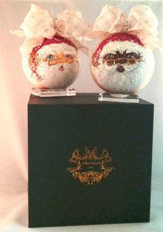 Natalie Sarabella Couture Ornaments: Couture Santa Christmas Themes, Christmas Decorations, Christmas Ornaments, Saint Nicholas, Father Christmas, Visual Merchandising, Reindeer, Decor Styles, Santa