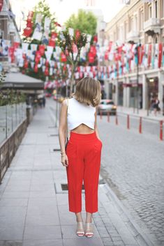 white crop top x red pants