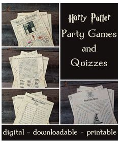 Set of 4 Harry Potter Themed Party Games #ad #harrypotter #harrypotterfan #potterhead #partygames #birthdayparty #digital #instantdownload #printable #etsy