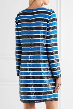 Michael Kors Collection - Striped Sequined Silk Mini Dress - Blue - US2