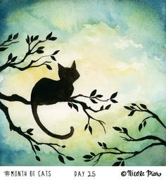 Lily Sitting in the Center of the Sky by Nicole Piar watercolor painting of a black cat in a tree in silhouette illustration art anime - Illustrations Sillouette Painting, Black Cat Painting, Art And Illustration, Painting Illustrations, Watercolor Cat, Watercolor Paintings, Acrylic Paintings, Photographie Street Art, Art Anime