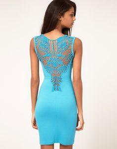 Paprika Crochet Back Jersey Body-Conscious Dress