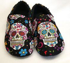 ADULT Sugar Skull Slippers - My Sugar Skulls #sugarskulls #sugarskullcostume #mexicanskull #sugarskullmakeup #sugarskulltattoo #spoonfulofsugar #dayofthedead #dayofthedeadcostume #dayofthedeadcostumes #diademuertos #mexicandayofthedead #mysugarskulls