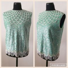 Vintage 1950s Turquoise Green Knitted Wool Sequin & by Cabinet49