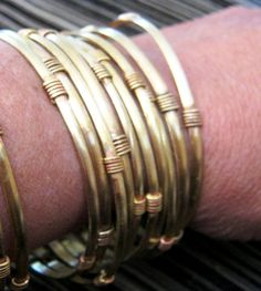 Brass bangles. Stackable . Narrow brass bangle with by ilarian. $4 each. LM 10-2014