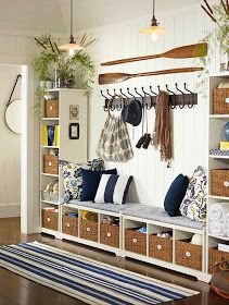 Organize your entryway with custom cabinets and shelves for mudroom storage. See samples of our custom mudroom organizers and entryway organization ideas. Nautical Entryway, Country Entryway, Coastal Entryway, Coastal Farmhouse, New Swedish Design, Beach House Decor, Home Decor, Beach Houses, Tiny Houses