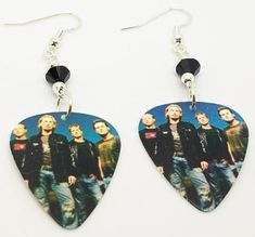 Nickelback Group Photo Guitar Pick Earrings with Black Crystals