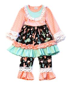 Take a look at this Pink Cactus Ruffle Dress & Pants - Infant, Toddler & Girls today!