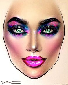 See this Instagram photo by @milk1422 Unique Makeup, Creative Makeup, Mac Makeup, Beauty Makeup, Kiss Makeup, Mac Face Charts, Makeup Face Charts, Makeup Drawing, Carnival Makeup