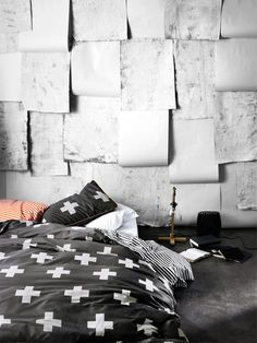 AURA Crosses Linen in Charcoal, available at Forty Winks  XXXXXXXCrosses are the new look!!!!!